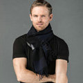 Fashion England Lattice Long Wool Scarf Man Winter Thicken Cashmere Tassels Muffler - Black+Navy