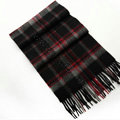 Fashion England Lattice Long Wool Scarf Man Winter Thicken Cashmere Tassels Muffler - Black+Red