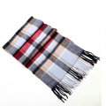Fashion England Lattice Long Wool Scarf Man Winter Thicken Cashmere Tassels Muffler - Blue+White