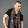 Fashion England Lattice Long Wool Scarf Man Winter Thicken Cashmere Tassels Muffler - Coffee+Blue