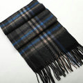 Fashion England Lattice Long Wool Scarf Man Winter Thicken Cashmere Tassels Muffler - Gray+Blue