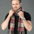 Fashion England Lattice Long Wool Scarf Man Winter Thicken Cashmere Tassels Muffler - Gray+Orange