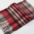 Fashion England Lattice Long Wool Scarf Man Winter Thicken Cashmere Tassels Muffler - Gray+Red