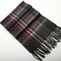Fashion England Lattice Long Wool Scarf Man Winter Thicken Cashmere Tassels Muffler - Gray+Rose