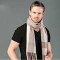 Fashion England Lattice Long Wool Scarf Man Winter Thicken Cashmere Tassels Muffler - Pink+Camel