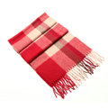 Fashion England Lattice Long Wool Scarf Man Winter Thicken Cashmere Tassels Muffler - Red+Beige