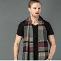 Fashion England Lattice Long Wool Scarf Man Winter Thicken Cashmere Tassels Muffler - Red+Gray