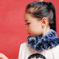 Fashion Kids Knitted Rex Rabbit Fur Scarf Children Winter Thicken Baby Neck Wrap Fur Collar - Blue