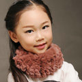 Fashion Kids Knitted Rex Rabbit Fur Scarf Children Winter Thicken Baby Neck Wrap Fur Collar - Coffee