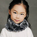 Fashion Kids Knitted Rex Rabbit Fur Scarf Children Winter Thicken Baby Neck Wrap Fur Collar - Gray+Black