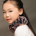 Fashion Kids Knitted Rex Rabbit Fur Scarf Children Winter Thicken Baby Neck Wrap Fur Collar - Pink+Black