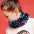 Fashion Kids Knitted Rex Rabbit Fur Scarf Children Winter Thicken Baby Neck Wrap Fur Collar - Purple+Blue