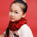 Fashion Kids Knitted Rex Rabbit Fur Scarf Children Winter Thicken Baby Neck Wrap Fur Collar - Red+Black