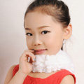 Fashion Kids Knitted Rex Rabbit Fur Scarf Children Winter Thicken Baby Neck Wrap Fur Collar - White