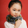Fashion Kids Knitted Rex Rabbit Fur Scarf Children Winter Thicken Baby Neck Wrap Fur Collar - Yellow+Blue