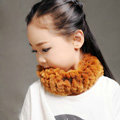 Fashion Kids Knitted Rex Rabbit Fur Scarf Children Winter Thicken Baby Neck Wrap Fur Collar - Yellow
