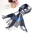 Fashion Plaid Long Wool Scarf Man Winter Thicken Business Casual Cashmere Tassels Muffler - Blue Gray