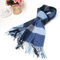 Fashion Plaid Long Wool Scarf Man Winter Thicken Business Casual Cashmere Tassels Muffler - Blue