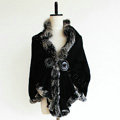 Genuine Wool Shawls Fox fur Thicken Scarf Women Winter Warm Solid Color Pashmina Poncho - Black