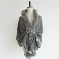 Genuine Wool Shawls Fox fur Thicken Scarf Women Winter Warm Solid Color Pashmina Poncho - Gray