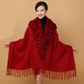 Genuine Wool Shawls Rabbit Fur Ball Scarf Women Thicken Warm Solid Color Bride wedding Cape - Claret red