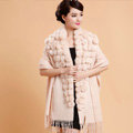Genuine Wool Shawls Rabbit Fur Ball Thicken Scarf Women Winter Warm Solid Color Pashmina Cape - Beige