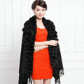 Genuine Wool Shawls Rabbit Fur Ball Thicken Scarf Women Winter Warm Solid Color Pashmina Cape - Black
