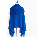 Genuine Wool Shawls Rabbit Fur Ball Thicken Scarf Women Winter Warm Solid Color Pashmina Cape - Blue