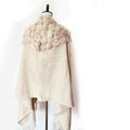 Genuine Wool Shawls Rabbit Fur Ball Thicken Scarf Women Winter Warm Solid Color Pashmina Cape - Camel