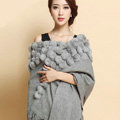 Genuine Wool Shawls Rabbit Fur Ball Thicken Scarf Women Winter Warm Solid Color Pashmina Cape - Gray
