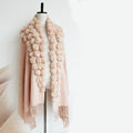 Genuine Wool Shawls Rabbit Fur Ball Thicken Scarf Women Winter Warm Solid Color Pashmina Cape - Light Camel