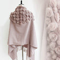Genuine Wool Shawls Rabbit Fur Ball Thicken Scarf Women Winter Warm Solid Color Pashmina Cape - Light Pink