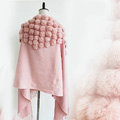 Genuine Wool Shawls Rabbit Fur Ball Thicken Scarf Women Winter Warm Solid Color Pashmina Cape - Pink