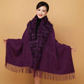 Genuine Wool Shawls Rabbit Fur Ball Thicken Scarf Women Winter Warm Solid Color Pashmina Cape - Purple