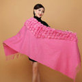 Genuine Wool Shawls Rabbit Fur Ball Thicken Scarf Women Winter Warm Solid Color Pashmina Cape - Rose Pink