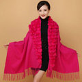 Genuine Wool Shawls Rabbit Fur Ball Thicken Scarf Women Winter Warm Solid Color Pashmina Cape - Rose