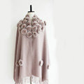 Genuine Wool Shawls Rex Rabbit Fur Thicken Scarf Women Winter Warm Solid Color Pashmina Cape - Light Pink