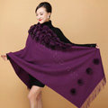 Genuine Wool Shawls Rex Rabbit Fur Thicken Scarf Women Winter Warm Solid Color Pashmina Cape - Purple