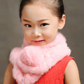 High Quality Kids Knitted Rex Rabbit Fur Scarf Children Winter Thicken Baby Fur Collar - Pink