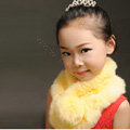 High Quality Kids Knitted Rex Rabbit Fur Scarf Children Winter Thicken Baby Fur Collar - Yellow