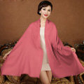 High Quality Solid Color Wool Scarf Shawls Women Winter Long Warm Pashmina Cape - Dark Pink
