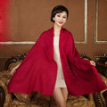 High Quality Solid Color Wool Scarf Shawls Women Winter Long Warm Pashmina Cape - Dark Red