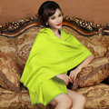High Quality Solid Color Wool Scarf Shawls Women Winter Long Warm Pashmina Cape - Fluorescent green
