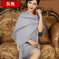 High Quality Solid Color Wool Scarf Shawls Women Winter Long Warm Pashmina Cape - Gray