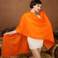 High Quality Solid Color Wool Scarf Shawls Women Winter Long Warm Pashmina Cape - Orange