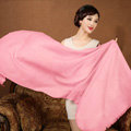 High Quality Solid Color Wool Scarf Shawls Women Winter Long Warm Pashmina Cape - Pink