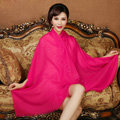 High Quality Solid Color Wool Scarf Shawls Women Winter Long Warm Pashmina Cape - Rose