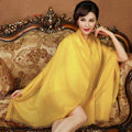 High Quality Solid Color Wool Scarf Shawls Women Winter Long Warm Pashmina Cape - Yellow