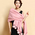 Hot selling Long Wool Shawls Rabbit Fur Ball Scarf Women Winter Thicken Bride Wedding Cape - Pink