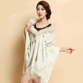 Luxury Long Wool Diamond Shawls Racoon Dog Fur Scarf Women Winter Thicken Tassels Poncho - Beige